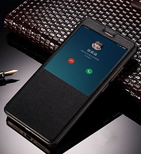 For Xiaomi Redmi Note 4 Flip Cover Case, AE(TM) ULTRA Thin PU Leather Smart Sensor-View (Auto Sleep/Wake) Window View Flip Case Flip Cover For Xiaomi Redmi Note 4 Smart Flip Cover Flip Case BLACK
