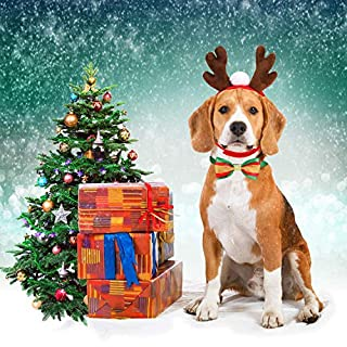Oumers 3 Packs Christmas Pet Costume Accessory Kits (Elk Headband and Christmas Dog Collars) Xmas Pet Costume Accessories for Cats Small Dogs