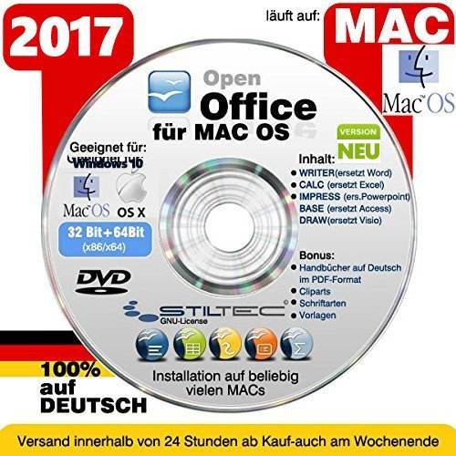 Open OFFICE MAC 2017 PREMIUM Home and Business Schreibprogramm Textverarbeitung Software [auf DVD Datenträger] ORIGINAL von STILTEC ©