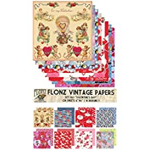 "Paper Pack (24sh 6""x6"") Valentine Day FLONZ Vintage Paper for Scrapbooking and Craft"