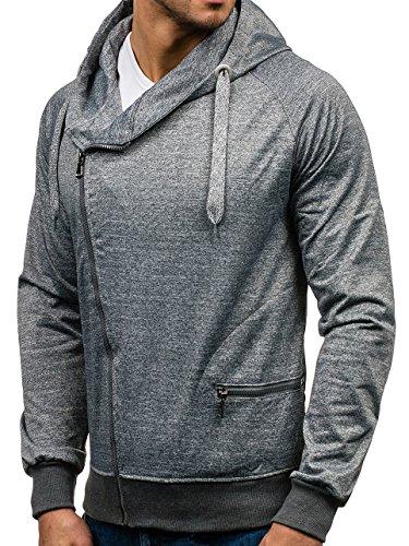 BOLF Herren Sweatjacke Kapuzenpullover Sweatshirt Hoodie Mix 1A1 Langarmshirt Grau_7092