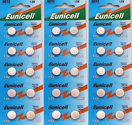 3x10 X AG13 LR44 Button Cells Batteries - A76 L1154 SR44 G13 357 - 1.5V by Eunicell