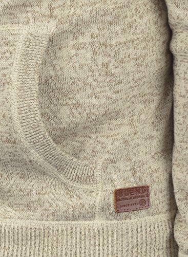 BLEND Danny Herren Kapuzenpullover Strickpullover aus weicher Baumwoll-Mischung Bone White
