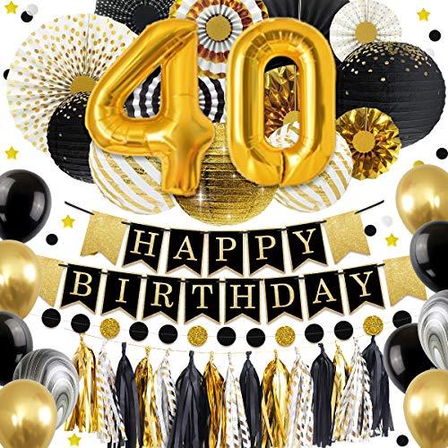 NICROLANDEE 40 Geburtstag Dekorationen - Glitter Happy Birthday Banner schwarz Gold Ballon Papierlaterne Fan Tissue Quaste Girlande für Geburtstag Jubiläum Dekor Party Supplies (40) (Mittelstücke Für 40. Geburtstag)
