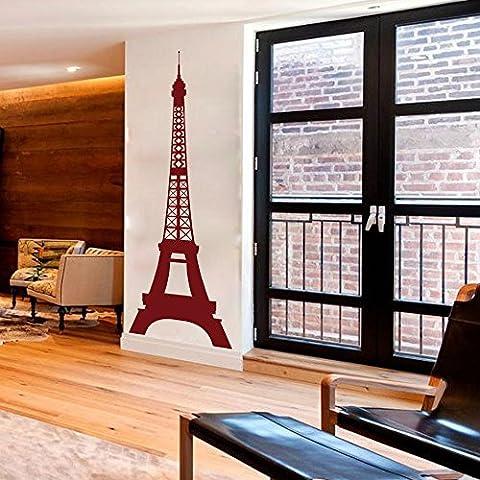 Tour Eiffel Sticker mural en vinyle Tour Eiffel mur Deacal Paris Skyline Tour Eiffel Sticker mural mur graphique affiche murale Art Home Decor, Vinyle, rouge foncé,