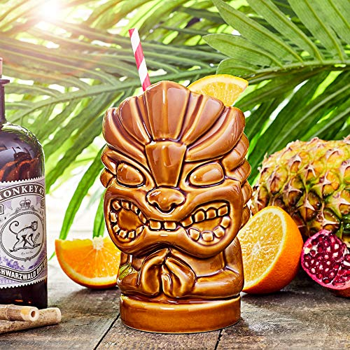 bar@drinkstuff Tazza da cocktail Hawaiian Tiki Head, 780 ml, in ceramica di qualità,