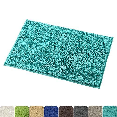 Mayshine 50x80 cm Turquoise Tapis d'Antidérapant de la Salle de Bain Tapis Lavable en Machine de la Salle de Bain Avec une Propriété d'Absorption d'Eau Et de Microfibre Et une Touche Souple