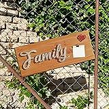 Fadenbild | String Art | Nagelbild |'family mit Foto' auf Holz 50x20 cm