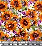 Soimoi Orange Seide Stoff Blätter und Sonnenblumen