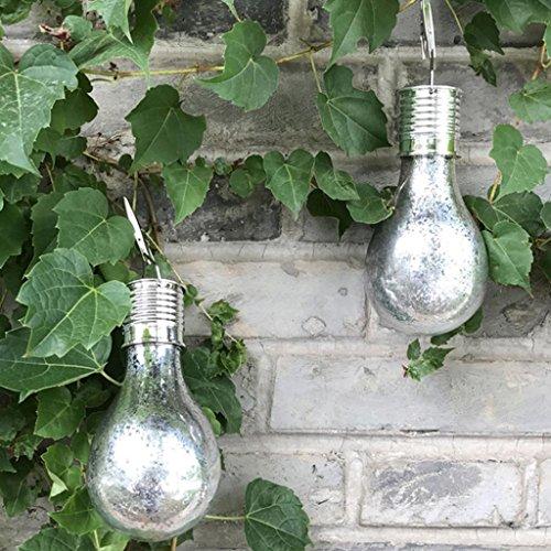 Preisvergleich Produktbild Garten-hängende Lampe wasserdichte Solarlampe drehbare im Freien Garten-kampierende hängende LED-helle Lampen-Birne (Silber)