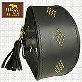 Woza Premium WINDHUND Halsband 6,8/47CM Pegasus Vollleder Rindleder Nappa SCHWARZ Handmade Greyhound Collar