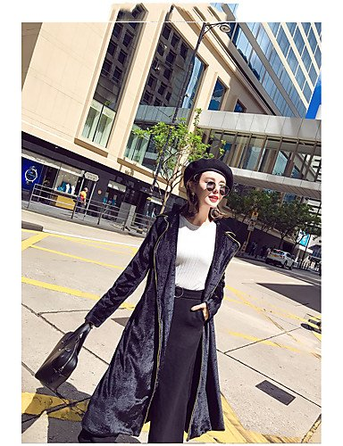 Xuanku Women's Casual/Daily Simple Winter Fur Coat,Solid Peaked Lapel Long Sleeve Long Polyester