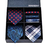 Hisdern Lot 3 PCS Classic Herren Seidenkrawatte Set Krawatte & Einstecktuch