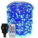 Erchen Strom-betrieben LED Lichterkette, 165 FT 500 LED 50M Stecker dimmbare Kupfer Draht Lichterketten mit 12V DC Adapter Fernbedienung für Innen Außen Weihnachten Party (Blau)