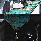 Artbisons Handgemachte Baumwollkünstlerische Spitzendekor-Speisetisch-Tuch-Tischläufer (241x33cm, Abstrakt Tischläufer)