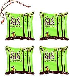 meSleep Sis Raksha Bandhan Cushion Cover With Beautiful Rakhi's - Set of 4