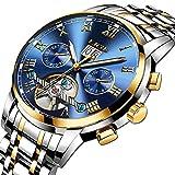 84543b78b LIGE Impermeable Moda Hombres Reloj mecanico automatico Acero Inoxidable  Relojes Azul Dorado Reloj de Pulsera