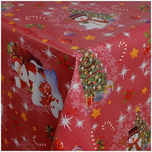 TEXMAXX Wachstuchtischdecke Wachstischdecke Wachstuch Tischdecke abwaschbar (1188-03) - 100 x 140 cm - PVC Tischdecke abwischbar, Weihnachten in Rot