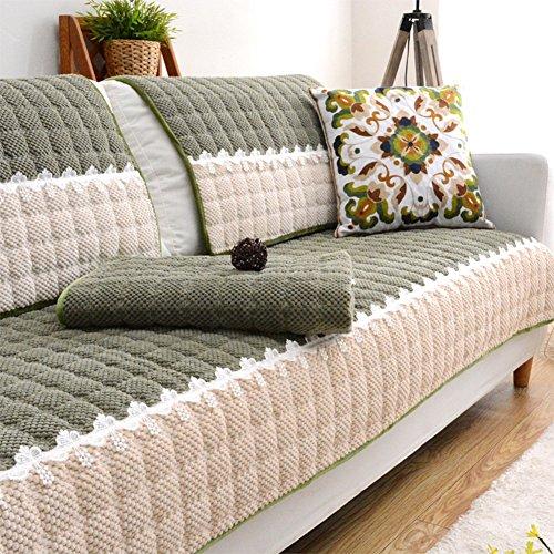 Tt&cc asciugamano di sofà di cuoio semplice,cuscino in tessuto universale peluche imbottito antiscivolo protettore all-inclusive quattro stagioni divano slipcover-h 90x240cm(35x94inch)
