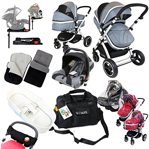 iSafe i-Safe Complete Trio Travel System Pram amp; Luxury Stroller - Grey Complete With Carseat   iSOFIX Base   iSafe Luxury Bedding Complete With Mattress   iSafe Luxury Changing Bag (Black)   iSafe Paren