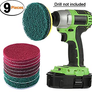 SIQUK 9 Pieces Scrub Pads 4 Inches Drill Power Brush Tile Scrubber Scouring Pads Cleaning Kit Including 3 Kinds of Abrasive Buffing Pads Replacement and 1 Pc Hook Attachment for House Cleaning