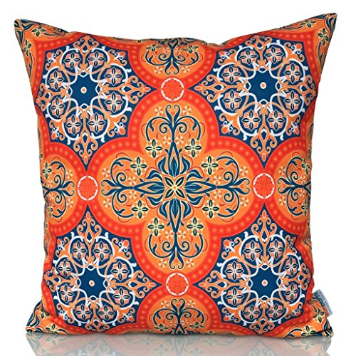 Sunburst Outdoor Living 60cm x 60cm SPIRIT Orange Moroccan Decorative Throw Pillow Cushion Cover for Couch, Bed, Sofa or Patio - Only Case, No Insert