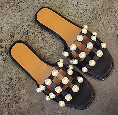 Frau Sommer offene Sandalen und Pantoffeln flache Sandalen und Pantoffeln Wort Drag Außen Perle Frauen Sandalen hohl Black