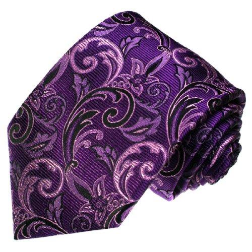 Lorenzo Cana - Premium Marken Krawatte aus 100% Seide - Farben Lila violett schwarz, Florales Ranken Muster - 36073 - Krawatte Herren Seide Schal