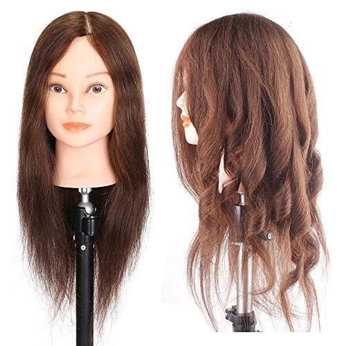 Professional 50,8 cm Cheveux 100% naturels de coiffure équipement Tête à coiffer poupée mannequin formation Tête de coupe outils tressage étudiant Pratiquer avec pince de serrage