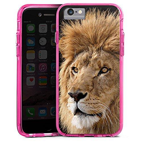 Apple iPhone 6s Plus Bumper Hülle Bumper Case Glitzer Hülle Lion King Lion Raubkatze Bumper Case transparent pink