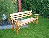 Gartenbank 3-sitzer aus Knüppelholz in Eiche und Buche massiv mit Holzlasur in Eiche dunkel, Maße: B/H/T ca. 165/86/70 cm