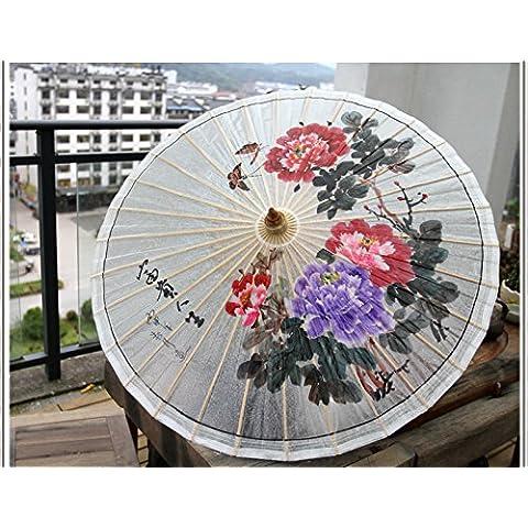 NHD-Ombrelli di Peony cinese dipinto a mano puri, ombrello di carta retrò, tradizionale , A
