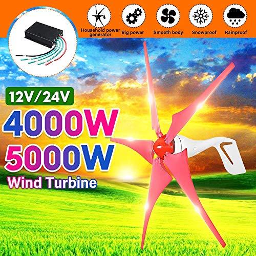 Preisvergleich Produktbild SHIJING Windgenerator 4000 / 5000W 12 / 24V 5 Wind-Blatt-Windmühlen-Energie-Genera... für Haushalt + freie Geschenk-Gebührenkontrolle, 4000