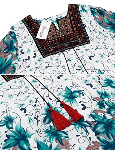 Meaneor Damen Kurze Kleider Strandkleid Minikleid Tunika Vintage Bohemian Strandtunika Sommer A-Linie Kleid Dunkelgrün
