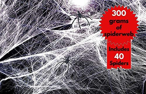 THE TWIDDLERS Deluxe Spinnennetz-Set elastich! Massive 300 Gramm realistische, Dehnbare Spinnwebem & 40 Spinnen - Perfekte Dekoration für Halloweenpartys - Verwendung auf Möbeln oder ()