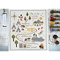 Cute map of the woods cross stitch kit with hedgehogs, bears and a dragonfly.