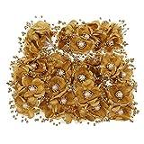 MagiDeal 72 Stück Künstliche Seide Rosen Blütenköpfe Blumen Köpfe Hochzeit Parteidekor DIY Basteln - Gold, 14x9cm