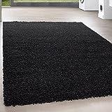 Teppiche PRIO SHAGGY für Wohnzimmer, Gästezimmer, Jugendzimmer oder Küche mit 3 cm Florhöhe PRIO 90000 hochflor shaggy einfarbig Teppiche , Farbe:Schwarz, Maße:160x230 cm