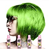 4 Crazy Color Semi Permanent Hair Colour Dyes by Renbow 100ml Lime Twist 68