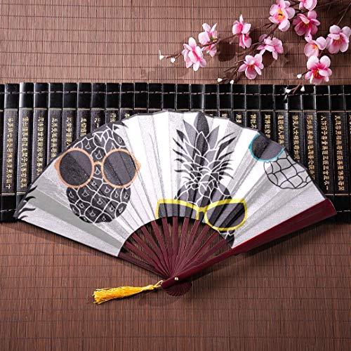 EIJODNL Japanische Fan bambustiere niedlich Sonnenbrille Gesicht mit Bambus Rahmen quaste anhänger und Stoffbeutel faltfächer für Frauen große Hand Fans billig niedlich Bambus Fans