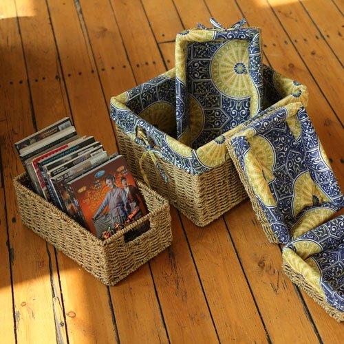 Quadratische Holz-finish Tisch (Erntekorb Weide bagehua Korb Aufbewahrungskorb Bett Snack Tisch Küche Aufbewahrungsbox Reinigungstuch Pastorale Trompete)