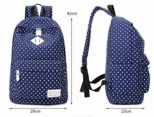 Xiuxiandianju 20-35L Canvas-Schulter-Taschen für Mädchen und jungen, Freizeit Reisen Polka Dot Rucksack Blue