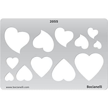 Bocianelli Plastic Stencil Template for Graphical Design Drawing Drafting Jewellery Making - Heart Hearts