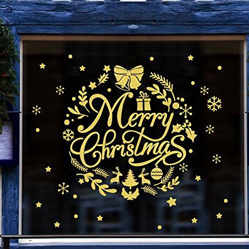 HAPPYLR Navidad Etiqueta de la Pared Mall Tienda de Vidrio Ventana Etiqueta de la Ventana Arreglo Floral Arreglo Floral Decoración Corona de Oro del Copo de Nieve, Medio