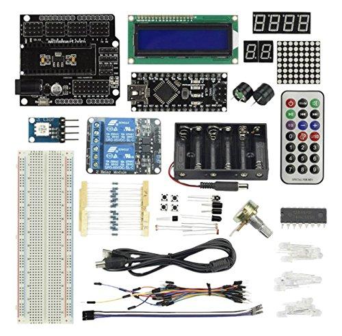 Sainsmart Nano V3 Starter Kit Per Arduino (1602Cld Modulo + Prototipo Mini Tagliere + 2-Channel 5V Relay Inclusa) Con Tutorial Manuale Di Istruzioni Su Arduino Progetti Di Base