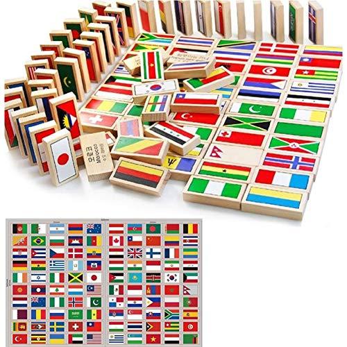HW GLOBAL Indicateur d'Enfants Monde de 100pcs Dominos en Bois mis pour Enfants Building Blocks Racing tuile Jeux Jouet