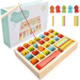 toyshine wooden magnetic fishing math game, preschool toy with 2 fishing poles, 1 clamp for kids- Multi color