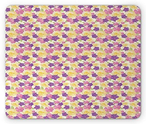 nder Nature Design with Illustration of Blooming Flower Arrangement Spring Season, Standard Size Rectangle Non-Slip Rubber Mousepad, Multicolor ()