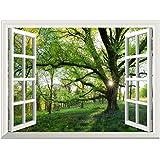 Vinilos decorativos - Autoadhesivo Pegatina Pared - Impermeable, Extraible, Definición alta - 61 * 81 CM - Ventana que mira hacia fuera en bosque de la primavera
