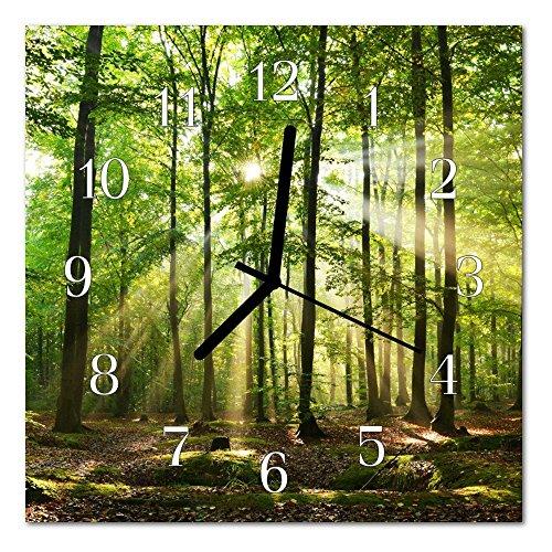 DekoGlas Glasuhr \'Wald Natur grün\' Uhr aus Acrylglas, eckig große Motiv Wanduhr 30x30 cm, lautlos für Wohnzimmer & Küche
